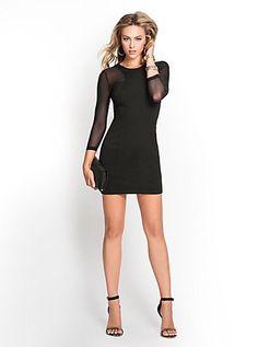 Three-Quarter Sleeve Ponte and Mesh Dress   GUESS.com