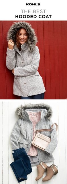 A cozy coat is a must-have for winter. One with a big (faux) furry hood for extra-chilly days? Even better. Shop the coat and the rest of the look at Kohl's. #winter #style