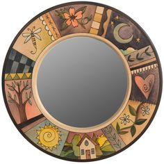 Small Circle Mirror – Lovely round mirror with elegant block icons Mirror Painting, Painting On Wood, Primitive Wood Signs, Sticks Furniture, Handmade Mirrors, Mirror Mosaic, Glass Wall Art, Art Deco Design, Wood Art