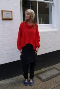 Keely is wearing bright red merino wool jumper and #Rundholz Dip skirt effect Navy harems. The red from the jumper is picked up on the soles of the blue Lisa Tucci shoes. http://www.walkersofpottergate.com/outfit/472/keely-9/