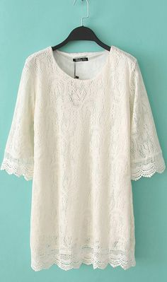 Three quarter sleeve hollow dress WQZ9370 White