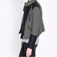 Zara Moto Jacket Edgy Zara army green jacket with faux leather and asymmetrical zipper. Great condition! No trades, please don't ask. Zara Jackets & Coats