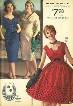 National Bellas Hess catalog, winter vintage fashion style print ad red party dress bow full skirt sleeveless gloves sheath tan navy blue late to early pencil wiggle 1960s Fashion Women, 60s And 70s Fashion, Fashion Now, Retro Fashion, Vintage Fashion, Vintage Style, 50s Outfits, Vintage Outfits, Fashion Through The Decades