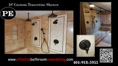 Travertine Shower with Delta Shower Systems