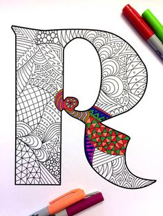 8.5x11 PDF coloring page of the uppercase letter R - inspired by the font Deutsch Gothic Fun for all ages. Relieve stress, or just relax and have fun using your favorite colored pencils, pens, watercolors, paint, pastels, or crayons. Print on card-stock paper or other thick paper