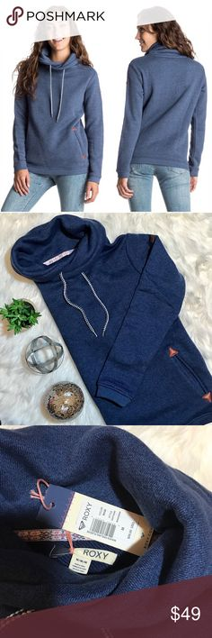 "🔴BOGO🔴Roxy Waves Feeling pullover sweatshirt This is brand new with tags! Heather navy color with blue and white strings. Warm cowl neck. Leather details at pockets and shoulder. Length measures 26"". Roxy Tops Sweatshirts & Hoodies"