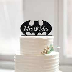 Mrs & Mrs Wedding Cake Topper-Same Sex Batman Wedding by Muggses