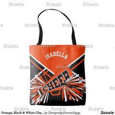 Sold 10 - Orange, Black & White Cheerleader Design Tote Bag