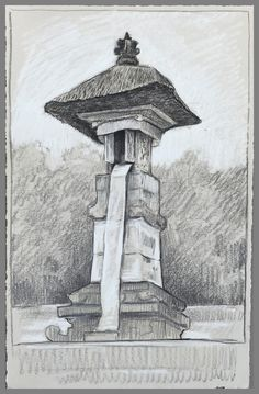 Travel Drawing: Pura Lempuyang, Bali, Indonesia Prismacolor Pencil on Paper x 2017 Easy Drawings Sketches, Forest Tattoos, Travel Drawing, Prismacolor, Cambodia, Italy, Sketchbooks, Illustration, Journals