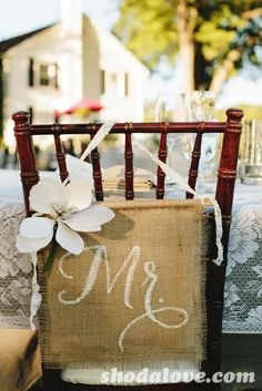 Chair Burlap Decor - change the title to Birthday Girl or Guest of Honor ...to fit your theme