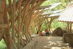 tropical savanna climate architecture - Google Search Cali Colombia, Tropical Savanna Climate, Bamboo Building, Bamboo Structure, Bamboo Construction, Glamping, Tourism, Pergola, Sculptures