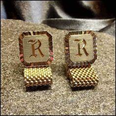 Vintage Cufflinks Swank Gold Monogram Initial R 1960s Mens Jewelry http://www.greatvintagejewelry.com/inc/sdetail/vintage-cufflinks-swank-gold-monogram-initial-r-1960s-mens-jewelry-/17489/18814