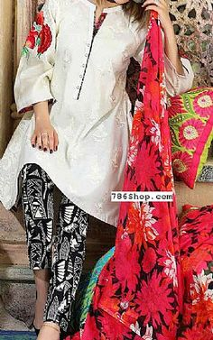 Off-White/Red Swiss Lawn Suit | Buy Charizma Pakistani Dresses and Clothing online in USA, UK