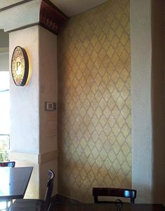 Awesome restaurant project by Texas artist Amy Martin using the Royal Design Studio Large Marrakesh Trellis stencil.