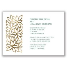 Contemporary Floral I Gold Foil Wedding Invitation at Invitations By Dawn