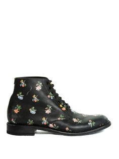 Lolita floral-print leather ankle boots by Saint Laurent | Shop now at #MATCHESFASHION.COM