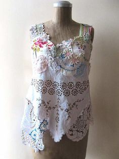 Reserved for Willow Bloom  Linen and Lace Top by AllThingsPretty, $185.00