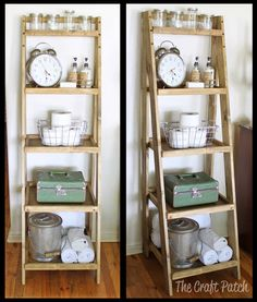 DIY Ladder Shelf #bathroomstorage #DIYfurniture