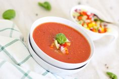 The Best Gazpacho - Intentionally Eat Tomato Basil Soup, Tomato Soup Recipes, Vegetable Soup Recipes, Garden Vegetable Soup, Gazpacho Soup, Vegan Soup, Vegan Vegetarian, Vegetarian Recipes, Vegan Recipes Easy