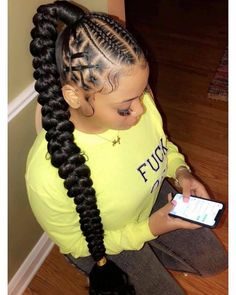 braided ponytail styles for black hair Try in 2020 Hair styling adds an additional beauty to a woman. Black or white, the hair style matters a lot in your Hair Ponytail Styles, Braid Styles, Curly Hair Styles, Natural Hair Styles, African Braids Styles, Ponytail With Braiding Hair, Hair Styles With Weave, Sleek Ponytail, Feed In Braids Hairstyles