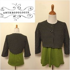"""Anthro Corey Lynn Calter Polka Dots Jacket By Corey Lynn Calter Polka Dots cropped jacket Size 10  Adorable polka dots prints. Cotton with acetate lining Bust 18"""" flat, L17"""" EUC Anthropologie Jackets & Coats"""