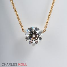 Signature Solitaire Diamond Pendant  Let the diamond do the talking, the CHARLES KOLL signature diamond pendant does just that. Enough said. http://www.charleskoll.com/product/signature-solitaire-diamond-pendant/