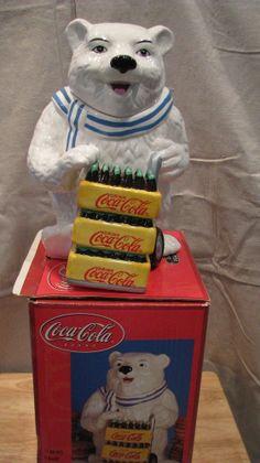 Coca Cola Vintage Polar Bear Ceramic Cookie Jar