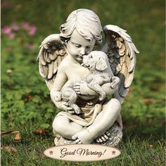 Cherub Angel with Puppy Garden Statue. Precious child angel sits cross legged and holds a cute little puppy in it's arms. This little cherub will make an ideal additon to your garden. Cute Little Puppies, Dogs And Puppies, Statue Ange, Outdoor Garden Statues, Little Cherubs, Ange Demon, Garden Angels, Cemetery Art, Cemetery Angels