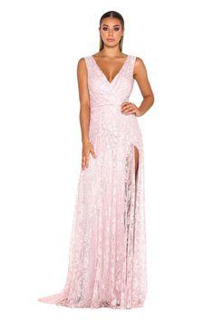 a20d68e7ee4 Hualong V Neck Side Split Blush Pink Bridesmaid Dresses