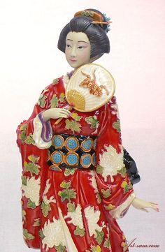Japanese Kimono Geisha - Ceramic / Porcelain Lady Figurine Rare : Art-sam.com