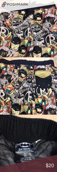 Dc batman swim shorts new without tag These batman shorts are pretty much for anything outdoor catch a lot of attention with nice colors plus it's has robin, flash and superman. Size 2XL Any questions please ask thank you. dc comic  Shorts Athletic