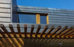 Uitbreiding woonhuis Almere, Zinken gevelbekleding in combinatie met eikenhouten kozijnen en luifel