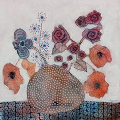 Poppies and Roses - Sandrine Pelissier, Watercolor and mixed media paintings
