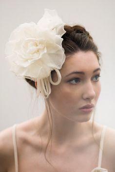 Fabric Flower Bridal Headpiece by Maggie Mowbray Millinery  #makeup Emma Motion #model Rosie McKenzie #bridal headpiece