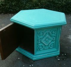 Have some really dark yucky brown end tables that resemble this, don't know about the tiffany blue but good idea