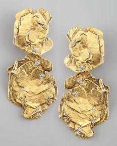Jose & Maria Barrera Gold Nugget Clip Earrings - Neiman Marcus
