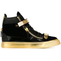 Giuseppe Zanotti Design Zip Detail Hi-Top Sneakers ($902) ❤ liked on Polyvore featuring shoes, sneakers, blue, lace up sneakers, giuseppe zanotti shoes, lace up high top sneakers, blue sneakers e flat shoes