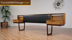 mid century bedroom with floating nightstands | Sold: Danish Teak Queen Headboard Floating Nightstands