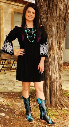 #ItsACowgirlThing  Black And White Cowgirl Dress JS