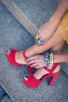 - red suede high heel sandals and statement jewelry - street style