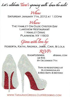 Shoe theme party decor paper goods 70 birthday party time and bridal shower invite family used idea of my wedding shoes red soles were made with red glitter such a creative idea best shower a girl could wish for filmwisefo
