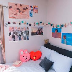 my bed area! ♡ —— this is where i spend most of my time, especially when i'm rewatching older run bts episodes 💗 —— 🚫DO NOT REPOST🚫 —— Army Room Decor, Army Decor, Room Wall Decor, Bedroom Decor, Bedroom Wall, White Bedroom, Shabby Bedroom, Shabby Cottage, Shabby Chic