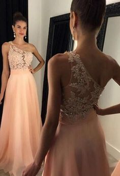 Long Ball Dresses A-line, Lace Prom Dresses Chiffon Evening Dresses, Tulle Formal Dresses Cheap Peach Prom Dresses, A Line Prom Dresses, Beautiful Prom Dresses, Ball Dresses, Bridesmaid Dresses, Chiffon Dresses, Long Dresses, Simple Formal Dresses, One Shoulder Formal Dresses