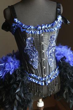 BLACK IRIS Adult HALLOWEEN sexy blue Burlesque Corset door olgaitaly, $165.00