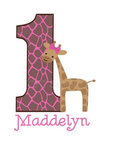 Pink Giraffe TShirt or Onesie Personalized Girls Giraffe Birthday Party Shirt ANY NUMBER AVAILABLE. $18.00, via Etsy.