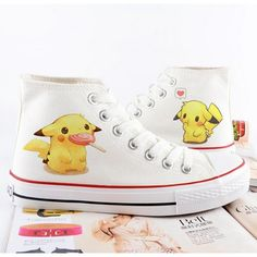 Pokemon, pikachu, converse, Pokemon shoes, hand painted... ($49) ❤ liked on Polyvore featuring shoes, christmas shoes, comic book, converse shoes, canvas shoes and converse footwear
