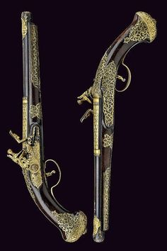 A very scarce pair of flintlock pistols for the Oriental market, Italy, first quarter of the 18th century.