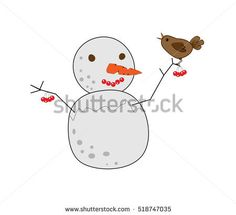 spring welcoming - smiling melting snowman with red cherry spring berry on it's tree branch with singing sparrow bird