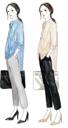 日本人の肌は、青みがベースの「プラチナ肌(青〜ピンクっぽい)」、黄みがベースの「ゴールド肌(黄~オレンジっぽい)」、大きくこの2方向に分類されるそう。そのどちらであるかを知ることは似合う服を選ぶ上で重要な判断材料に。骨格タイプにもとづくファッションコンサルティングで活躍中の荒川美保さんが、肌色別の鉄板スタイルを伝授! Office Fashion, Work Fashion, Fashion Art, Fashion Outfits, Fasion, Japanese Colors, Pear Body, Fall Color Palette, Wardrobe Basics