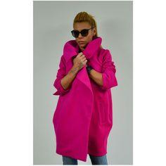 Woman Wool Coat Winter Coat Woman Oversized Coat High Collar Coat... (230 BGN) via Polyvore featuring outerwear, coats, black, women's clothing, wool coats, high collar wool coat, oversized coat, high collar coat and woolen coat